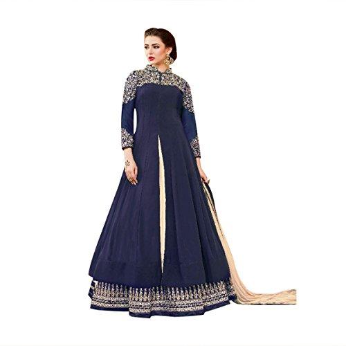 Blue Color Stylish Anarkali Salwar Kameez Bollywood Diwali Festive Kaftan Gown Long Wedding Formal Party Wear Muslim Women Ceremony By Ethnic Emporium 525 by ETHNIC EMPORIUM