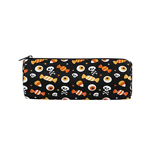 (JERECY Halloween Skull Candies Pattern Pencil Case Pouch Bag School Stationery Pen Box Zipper Cosmetic Makeup)
