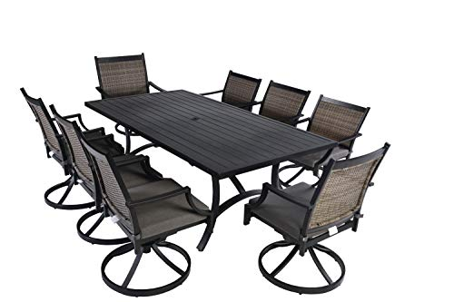 - Pebble Lane Living All Weather Rust Proof Indoor/Outdoor 9pc Powder Coated Aluminum Patio Dining Set, 1 Slat Top Dining Table & 8 Swivel Rocking Wicker Dining Arm Chairs with Cushions, Black/Gray