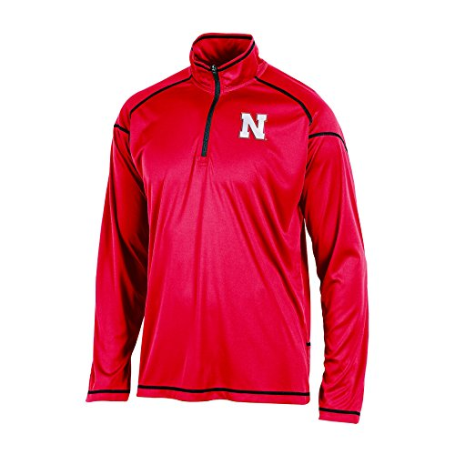 Champion NCAA Nebraska Cornhuskers Men's Long Sleeve Quarter Zip W Jacket, Red, Medium