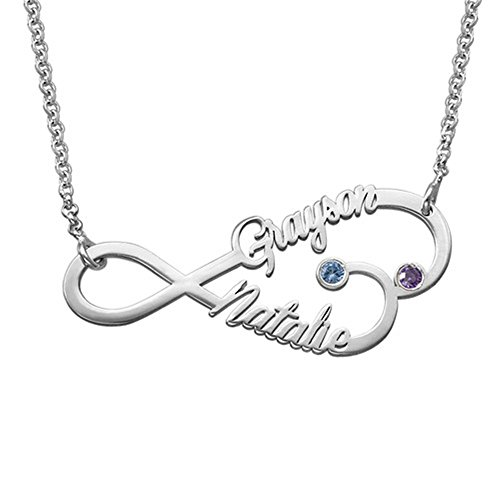 (a266XDKSJK Infinity Heart Name Necklace with 2 Birthstones Custom Made with 2 Names(18k Rose-Gold-Plated-Base 18