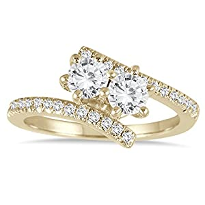 AGS Certified 1 Carat TW Two Stone Diamond Ring in 10K Yellow Gold (K-L Color, I2-I3 Clarity)