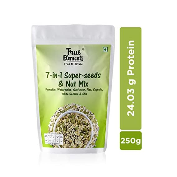 True Elements 7 in 1 Super Seeds and Nut Mix - Pumpkin, Watermelon, Sunflower, Flax, Soyanuts, White Sesame & Chia Seeds 250g