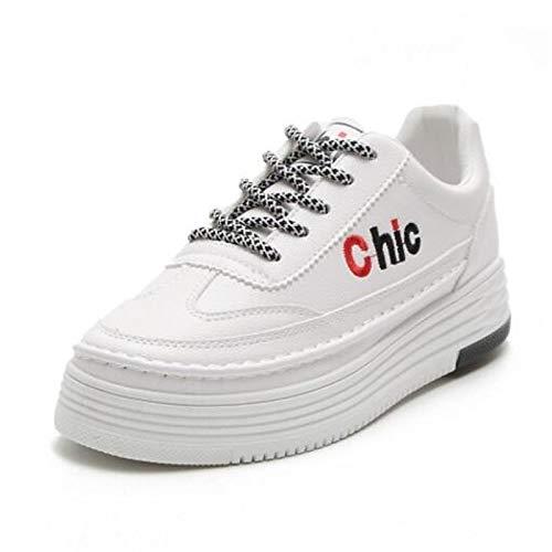 Gris tacón Mujer de Zapatillas Blanco de Zapatos Verano Cerrada Puntera Negro Plano ZHZNVX Deporte PU Primavera Poliuretano White con TwqSBEnx