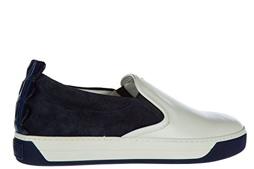 Fendi slip on uomo in camoscio sneakers nuove originali blu