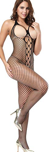 - The Victory of Cupid Womens Sexy Fishnet Floral Crotchless Bodysuits Suspender Bodystocking, Black, One Size