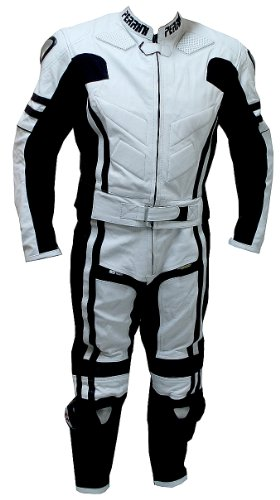 2 pc Perrini Ghost Motorcycle Racing Leather Suit With Metal Waist Zipper ()