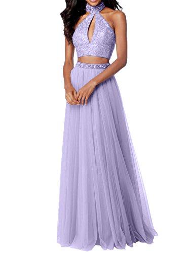 Damen Rosa Abiballkleider Abschlussballkleider Lilac Promkleider Teilig Tuell Steine Abendkleider Zwei Charmant mit aqwdUxU