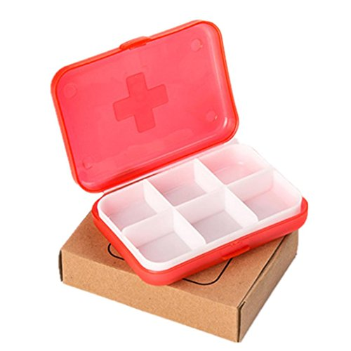 Molyveva Mini Portable Travel Pill Organizer with Moisture-Proof Design and 6 Compartments to Hold Vitamins, Supplements and Medication (Red)