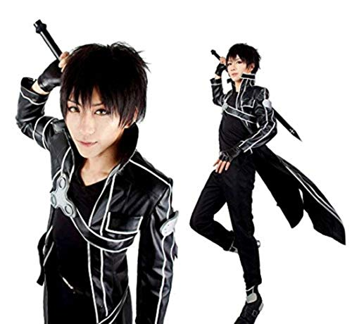 Another Me Men's Costume Sword Art Online Anime Kirito PU Jacket Coat SAO Outfit Cosplay Suit Male (X-Small) Black