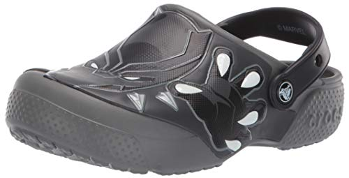 (Crocs Unisex Boys and Girls Black Panther Clog Slate Grey, 2 M US Little Kid)