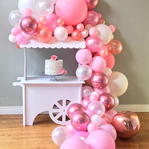 London Vierston Pink Balloon Garland & Arch Kit; 100 Pink, Rose Gold, White Balloons; Party Decorations for Birthdays, Baby Showers, Weddings, Anniversaries, Quinceaneras; Glue Dots & Arch Strip