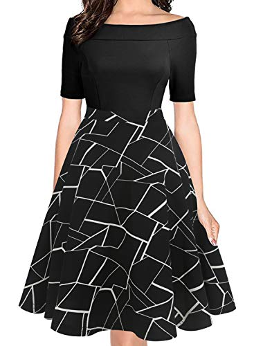 oxiuly Women's Vintage Stripe Slash Neck Pockets Casual A-Line Work Dress Party Cocktail Midi Dress OX232 (XL, B-White Stripe)