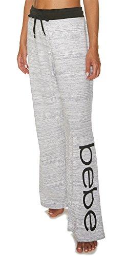 bebe Womens Lounge Elastic Waist Decorative Drawstring Pajama Pants Grey Medium -