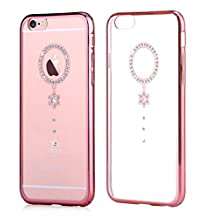 Iphone 6 Case & Iphone 6s Case ,Comma® Cystal Camelia Design Case for Iphone 6 Case & Iphone 6s Case ,Very Beautiful Design , Case Is More Beautiful Than Photo (Rose Gold White Camelia)