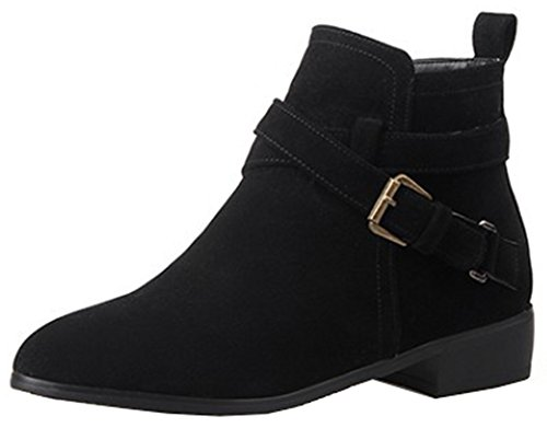 Easemax Women's Chic Faux Suede Zip Up Pointed Toe L ow Chunky Heel Buckle Short Ankle High Boots Black ysr5W24Jc