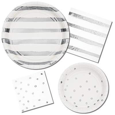 White & Silver Disposable Party Supplies Serves 16: Dinner + Dessert Plates + Lunch Napkins + Beverage Napkins
