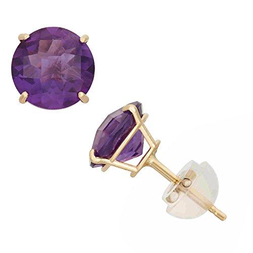10k Yellow Gold Amethyst Earrings - 10K Yellow Gold Amethyst Round Stud Earrings, 6mm, Comfort Fit