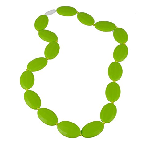 Silicone Teething Necklace with Baby-safe Jewelry By FAVEfemme - Bpa-free, Best Soothing Method, Better Than Baltic Amber, Teething Necklace for Mom (Green Apple/Avocado Green)