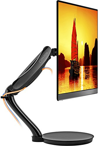 ONKRON Free Standing Desk Monitor Mount for 13 to 27-Inch LCD LED OLED Flat Panel TV Screens up to 13.2 lbs G80FS Black