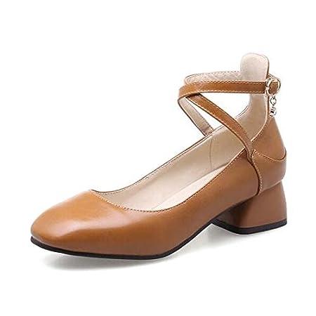 1def26fbf556df ZHZNVX Chaussures Femme PU Spring Escarpins Basic Chunky Heel Noir/Beige/ Marron/Fête & Soirée Polyuréthane
