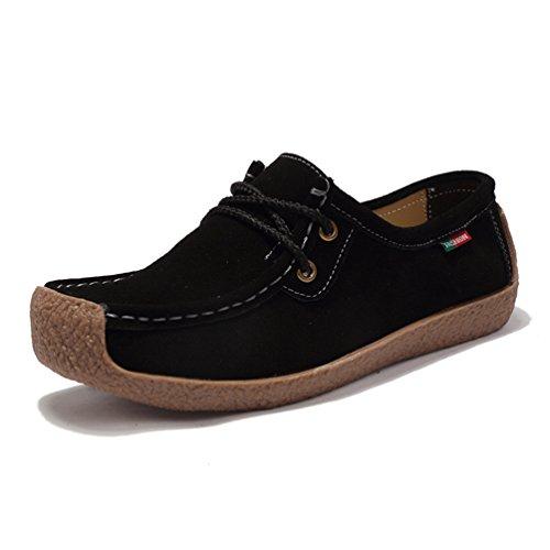 Bateau Mode De Automne Noir En Jrenok Suède Chaussure Confortable Tête Femme Enfiler Loisir Loafers Carrée À Cheville canWWUT
