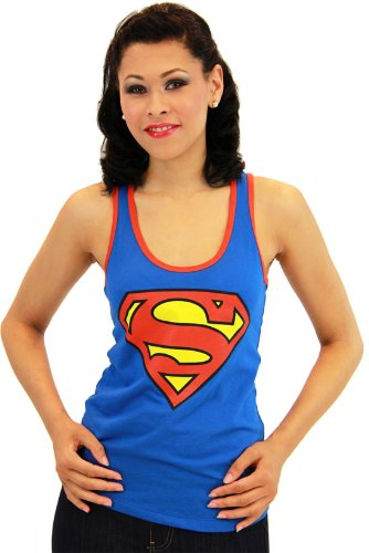 Superman+tank+tops Products : Superman Emblem Juniors Blue Racerback Tank Top