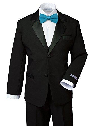 Spring Notion Boys' Classic Fit Tuxedo Set, No Tail 18 Black-Turquoise (Tuxedo Adjustable Pants)