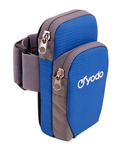 Yodo Running Sport Armband with Key Holder,2 pouches Fits for iPod Nano/Cell Phone iPhone7/8/6S/6/Samsung Galaxy S5 S6 S7 Edge for Workout Exercise Gym Jogging Walking Biking Riding,Royal Blue (Sports Armband)