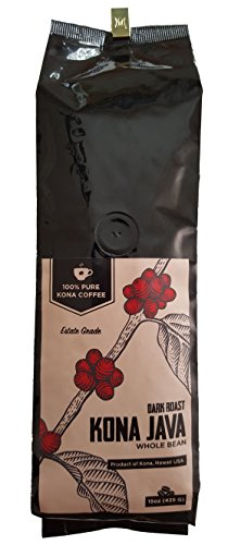 Kona Coffee by Kona Java - 100% Pure Fancy Hawaiian Beans, Not a Blend - Kona Whole Bean - Gourmet Dark Roast - Grown on Real Hawaii Volcanic Soil and Freshly Roasted by Kona Java