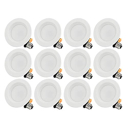 TORCHSTAR 12-Pack 4 Inch LED Downlight with Baffle Trim, Dimmable, 10W (65W Replacement), Retrofit LED Recessed Lighting Fixture, 5000K Daylight, CRI90+, Energy Star & ETL Listed LED Ceiling Light