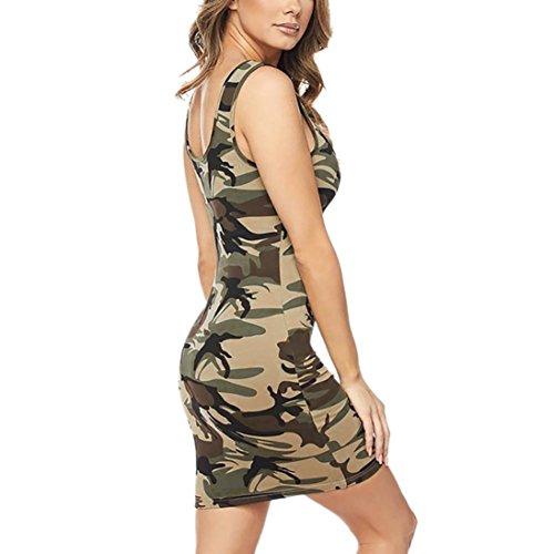 Green Army Dress Women Print Sleeveless Mini Neck CSSD Camouflage O Sexy Buttocks zPZwPvTqx