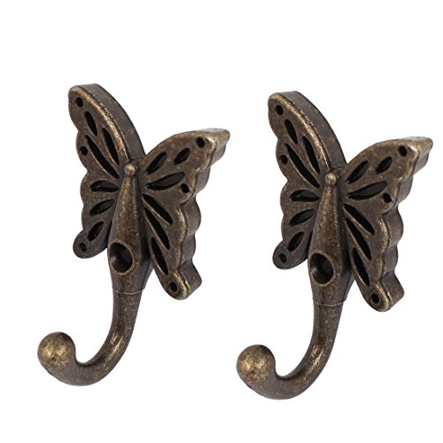 Uxcell a16062000ux0417 Wall Hanger Robe Clothes Hat Butterfly Key COAT Hooks Wall Hanger 2Pcs