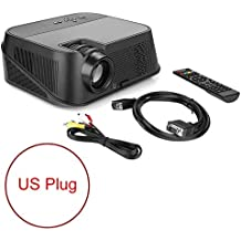 Full HD Projector, 1280x800 Resolution Stereo Video Projector with 3500LM Brightness for TV Box Home Theater Desktop Computer Laptop Digital Camera Compatible with AV VGA USB HDMI TF