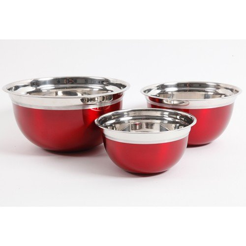 Rosamond Metaline 3 pcs Stainless Steel Colored Mixing Bowls by Gibson Home (Red)
