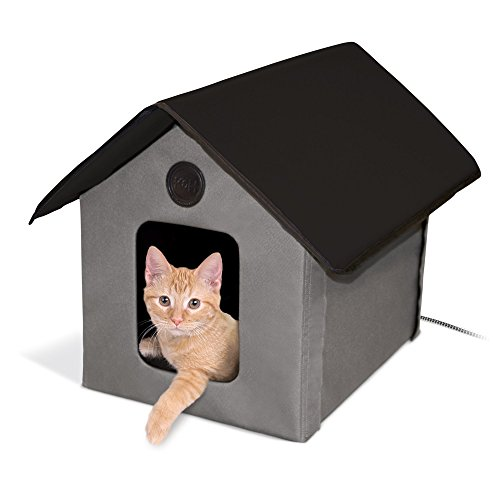 K&H Manufacturing Outdoor Kitty House, 18 x 22 x 17-Inches, Heated - Gray/Black