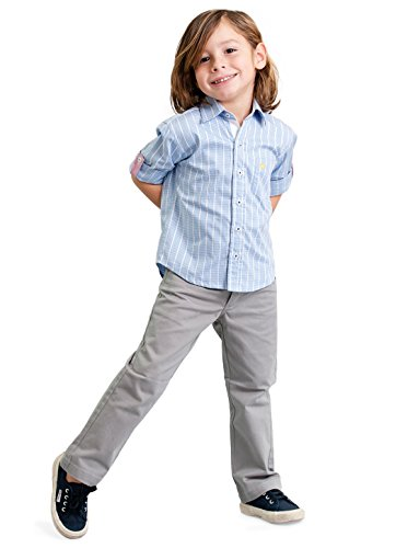 Dakomoda Toddler Boy's Cotton Pants Gray Five-Pocket Stretch Jeans Adjustable Waist 4T