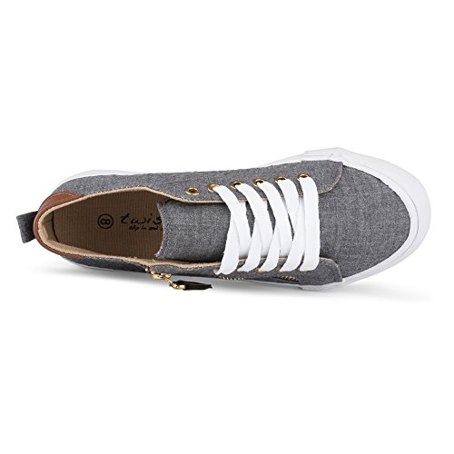 Twisted Women's KIX Canvas Sneakers with Decorative Zippers Charcoal