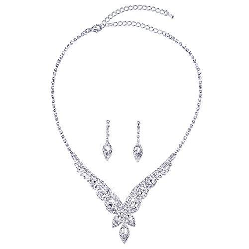 COOLSTEELANDBEYOND Bridal Marquise Rhinestones Butterfly Navette Long Dangle Y-shape Statement Necklace Earrings Set