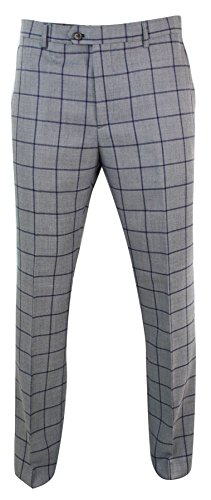 (Cavani Mens Herringbone Tweed Vintage Retro Check Wool Trousers Peaky Blinders Classic Grey-macy)