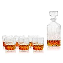 Clear Etched Glass 32 oz Whiskey Decanter with Stopper & 8 oz Tumbler Glasses, 7 Piece Set