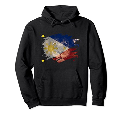Unisex Philippines Flag & African Lion - Filipino Pride Hoodie Large Black