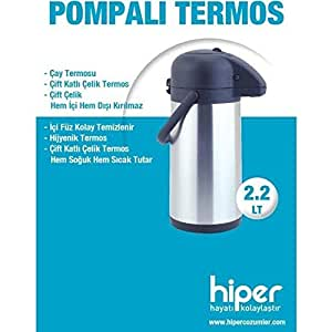 Hiper 2.5 Lt Pompalı Termos, Çelik