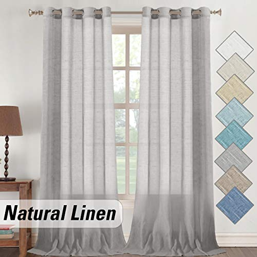 Flamingo P Elegant Sheer Linen Curtains 108 Inch for Living Room, Natural Linen Textured Light Filtering Window Treatment, Grommet Top Flowy Curtain Drapes (52