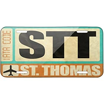 Metal License Plate Airportcode STT St. Thomas - Neonblond