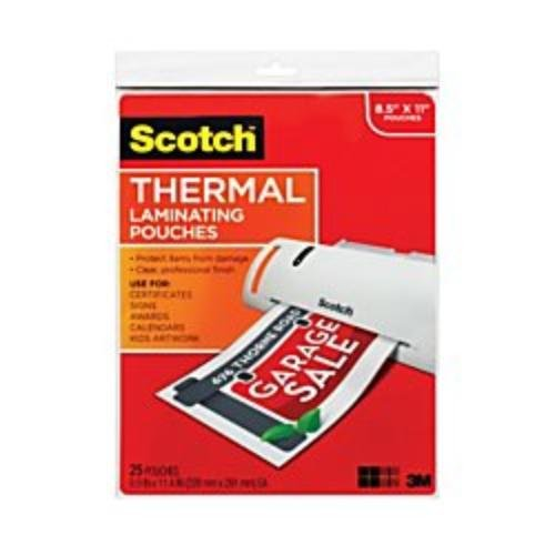 Scotch(TM) Thermal Laminating Pouches, 8 1/2in. x 11in, Clear, Pack of 25