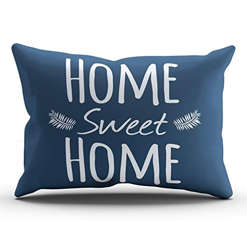 (XIUBA Pillowcases Navy and White Home Sweet Home Typography Customizable Cushion Decorative Rectangle 20x36 Inch King Size Throw Pillow Cover Case Hidden Zipper One Side Design Printed)