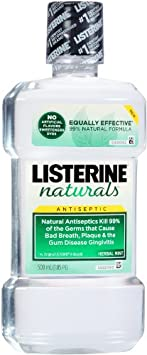 Listerine Naturals Antiseptic Adult Mouthwash, Herbal Mint, 16.91 Fluid Ounce Pack of 12