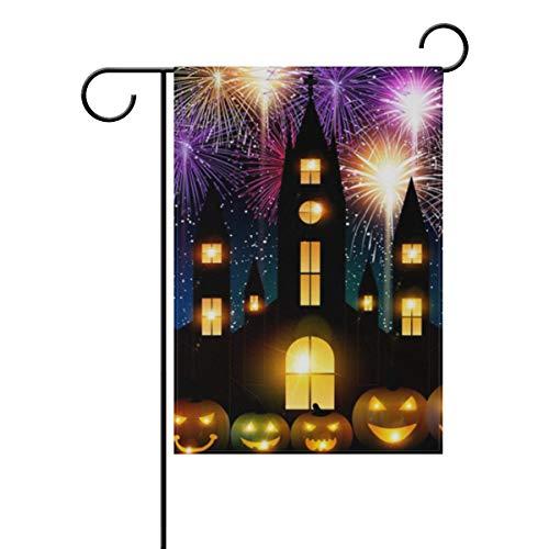 WIHVE Halloween Jack-O-Lantern Fireworks Polyester Garden Flag House Banner 12 x 18 inch, Double-Sided Flags Fall Winter Holiday Seasonal Garden Flag Wedding Party Yard Home Outdoor Decor