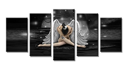YPY Oil Paintings Angel Wall Art for Home Living Room Bedroom Office Ready to Hang Canvas Material Framed 5 Panels (Black White)
